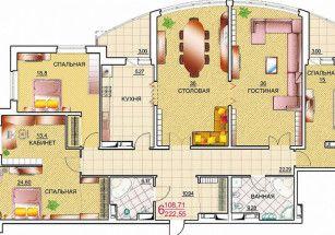 Проектом сооружения новостройки в Хамовниках предусмотрены квартиры с шестью комнатами