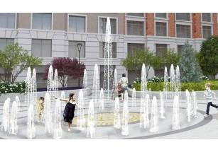 Во дворе элитного дома «ЖИЗНЬ на Плющихе» монтируют 8-метровый «сухой» фонтан