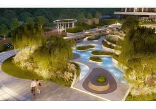 На территории клубного дома «Река» появится двор-оазис с водным садом