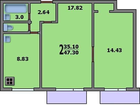 Варианты перепланировки двухкомнатной квартиры в доме серии II-18