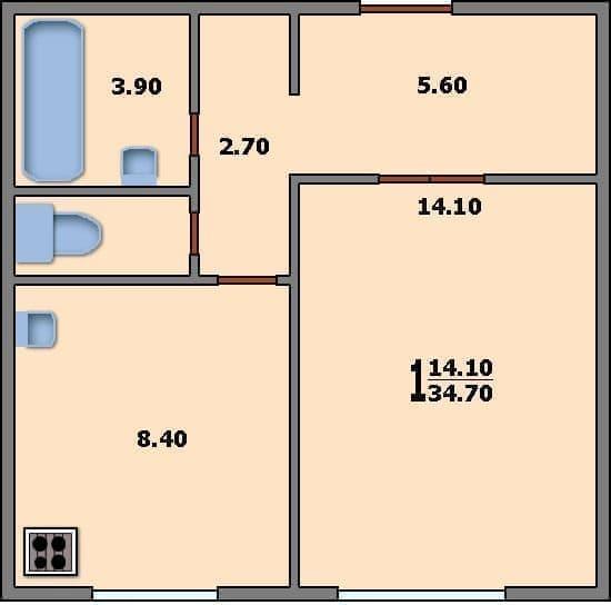 Планировка однокомнатной квартиры в доме серии П-3.  Общая площадь квартиры 34,70 кв. м. Жилая площадь 14,10...