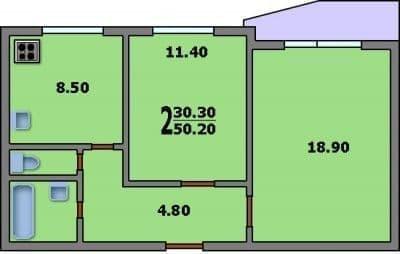 2 комнатная квартира п 44т. Дома серии п44т, планировки квартир с  размерами. Использование раздвижной двери | 254x400